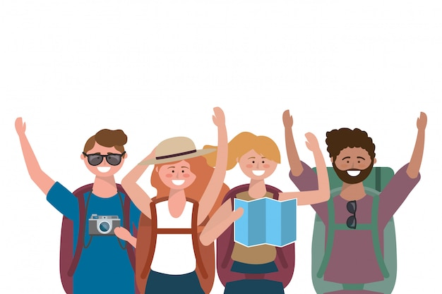 Toeristische jongens en meisjes met tasontwerp