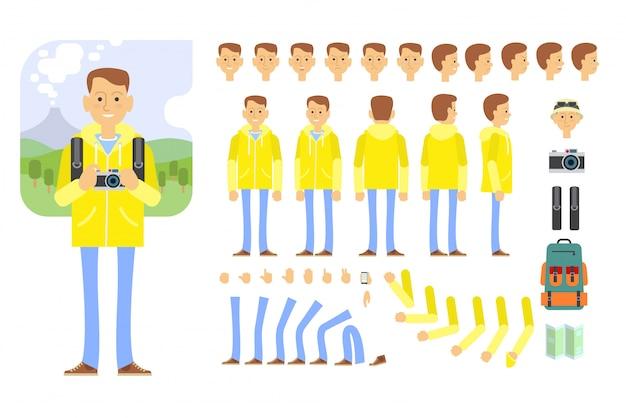 Toeristische karakter ingesteld met verschillende poses, gebaren, emoties