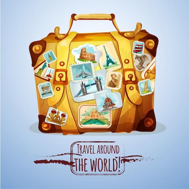Toeristische koffer met postzegels
