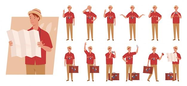 Toeristische man met bagage tekenset. verschillende poses en emoties.