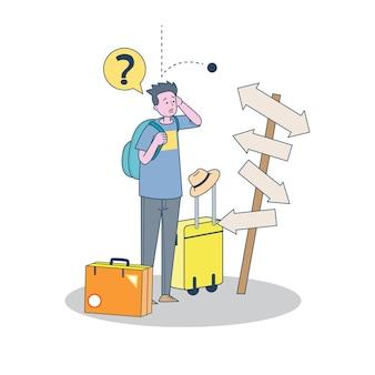 Toeristische man op zoek navigatie verwarrend kiest manier met verkeersbord, cartoon afbeelding voor reiziger en backpacker