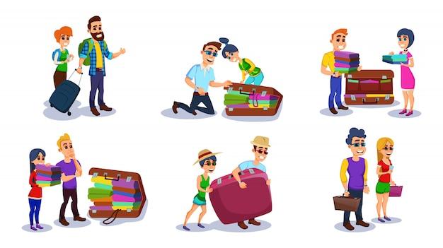 Toeristische man, vrouw tekens bagage inpakken.