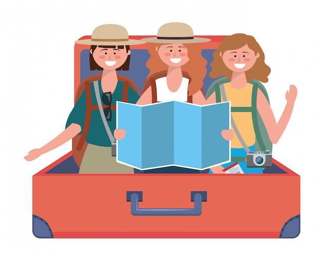 Toeristische meisjes cartoons met tas ontwerp