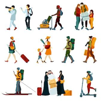 Toeristische mensen instellen