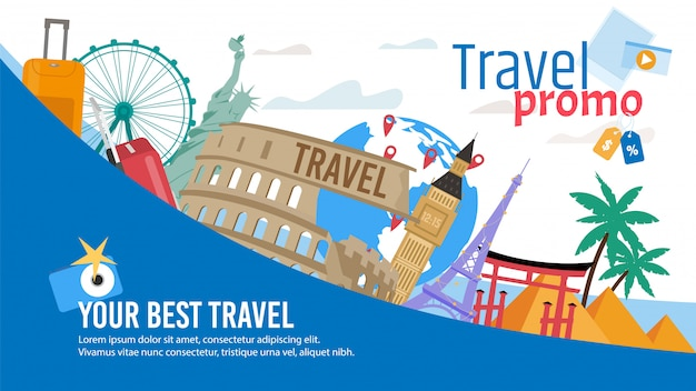 Toeristische route of tour flat promo banner Premium Vector