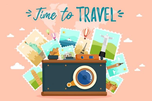 Toeristische set reis rond de wereld.