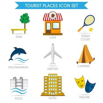 Toeristische toerismepictogrammen plat bouwen