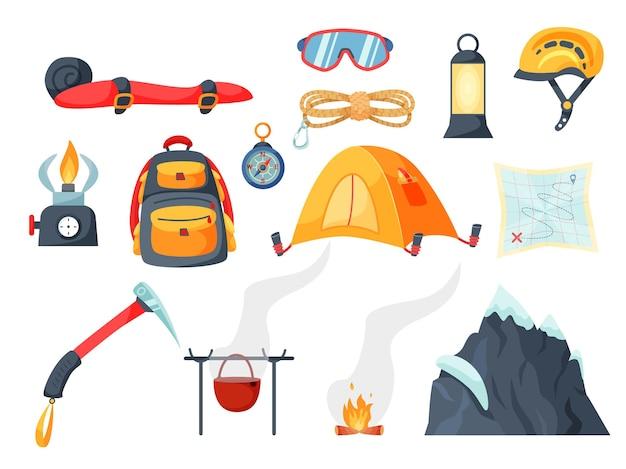 Toeristische uitrusting voor bergbeklimmers om te wandelen of te rusten. slaapzak, tent, beschermende uitrusting, doorn, houweel, pot, kampvuur, bergtop
