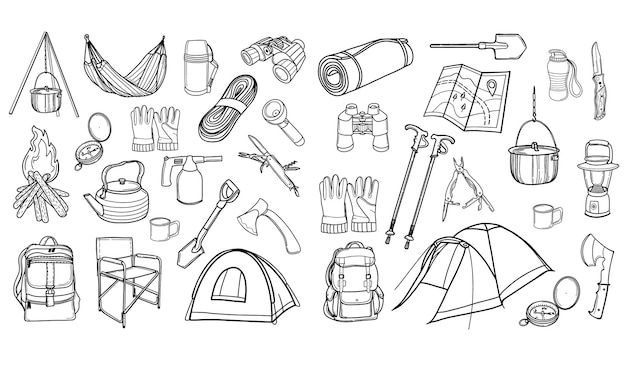 Toeristische uitrusting. wandelen, reizen. een set pictogrammen voor kamperen. illustratie in doodle-stijl.