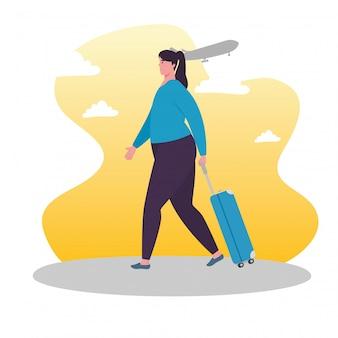 Toeristische vrouw lopen met bagage, vrouwelijke reiziger met bagage vector illustratie ontwerp