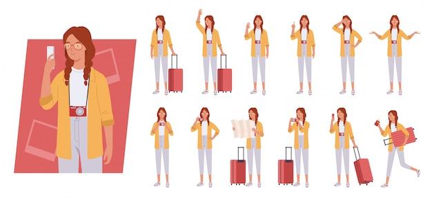 Toeristische vrouw met bagage tekenset. verschillende poses en emoties.