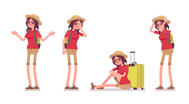 Toeristische vrouw negatieve emoties ingesteld
