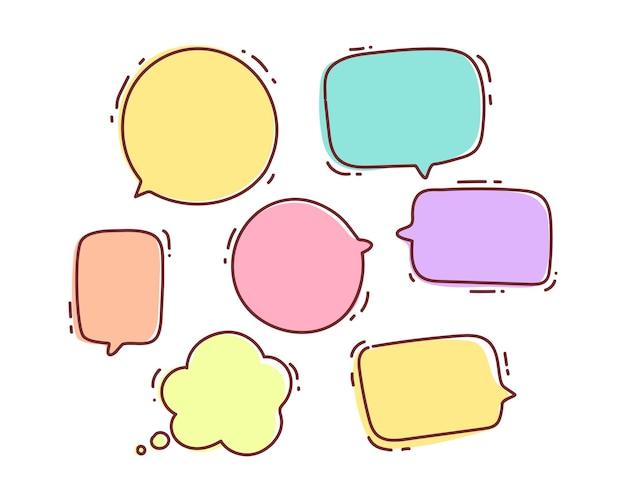 Toespraak bubble doodle chat bericht dialoog praten vorm of symbool hand getekende cartoon kunst illustratie