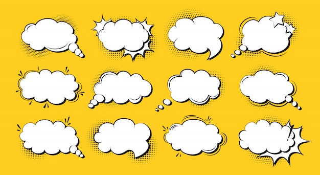 Toespraak bubble komische popart cartoon set, sjabloon explosie wolk. retro jaren 80-90 lege ontwerpelementen halftoon punt achtergrond. toespraak dacht blobs strips vintage banner. illustratie geïsoleerd