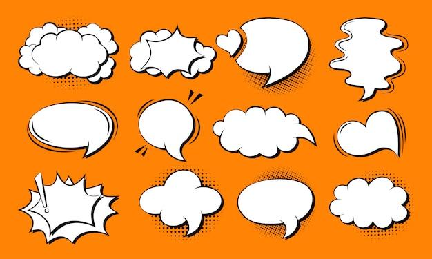 Toespraak bubble komische set. retro cartoon popart 80s-90s ontwerp. toespraak gedachte blobs stripboek.