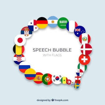 Toespraak bubble samenstelling met vlaggen