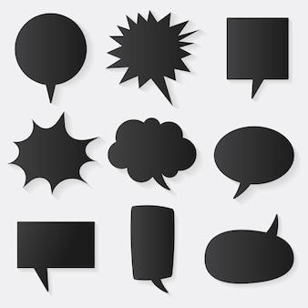 Toespraak bubble vector icon set, zwart plat ontwerp