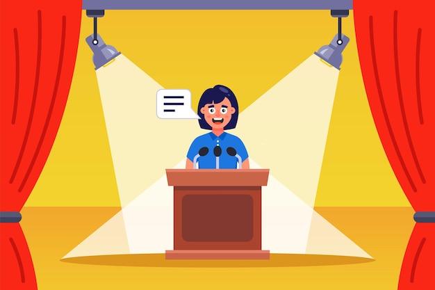 Toespraak van de redenaar van het meisje op het podium. platte vectorillustratie