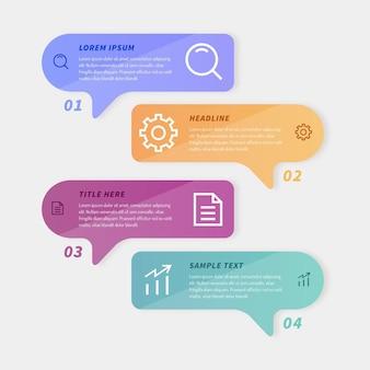 Toespraakbellen infographics in plat ontwerp