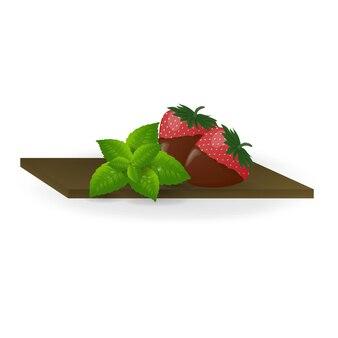 Toetje. met chocolade bedekte aardbeien.