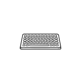 Toetsenbord hand getrokken schets doodle pictogram. invoerapparaat en technologie, toetsenbord en apparatuurconcept. schets vectorillustratie voor print, web, mobiel en infographics op witte achtergrond.