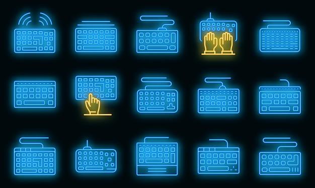 Toetsenbord pictogrammen instellen. overzichtsreeks toetsenbord vectorpictogrammen neonkleur op zwart