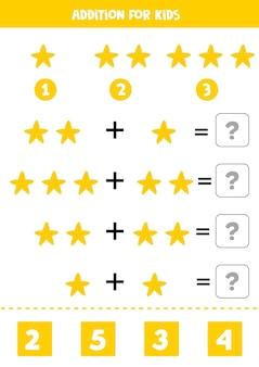 Toevoeging met gele zeester educatief wiskundespel voor kinderen