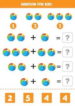 Toevoeging met kleurrijke speelgoedballen. educatief wiskundespel voor kinderen. vergelijkingen leren oplossen. thuisonderwijs.