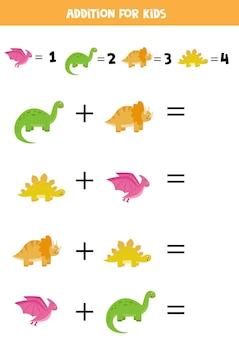Toevoeging met verschillende dinosaurussen. educatief rekenspel voor kinderen.