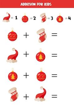 Toevoeging met verschillende kerstsokken en petten. educatief rekenspel voor kinderen.