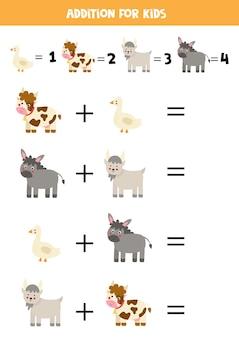 Toevoeging spel met schattige cartoon boerderijdieren. rekenspel voor kinderen.