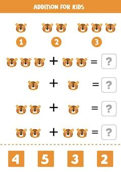 Toevoeging spel met schattige cartoon gezicht van tijger