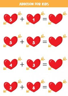Toevoeging voor kinderen met rode harten.