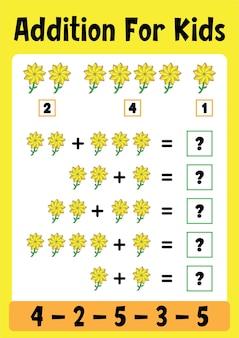 Toevoeging werkbladen - wiskunde puzzelspel voor kinderen