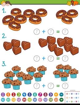 Toevoegingsberekening puzzelspel voor kinderen met snoepjes