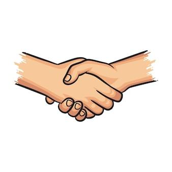 Toewijding, hand, deal, zaken, partnerschapsconcept, handbewegingen