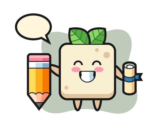 Tofu illustratie cartoon is afstuderen met een gigantisch potlood, een schattig stijlontwerp voor een t-shirt
