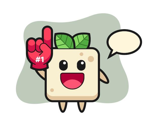 Tofu illustratie cartoon met nummer 1 fans handschoen, schattig stijlontwerp voor t-shirt