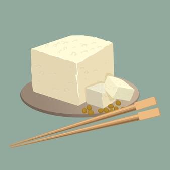 Tofu-kaas op plaat met geïsoleerde eetstokjes. gezond chinees voedingsvoedsel. gefermenteerde tahoe, sojakaas is een vorm van bewerkte, geconserveerde tofu gemaakt van soja. realistische illustratie