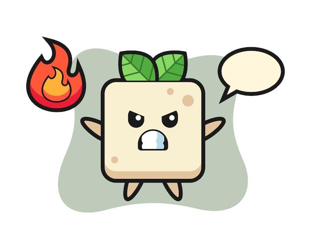 Tofu karakter cartoon met boos gebaar, schattig stijlontwerp voor t-shirt