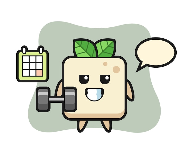 Tofu mascotte cartoon doet fitness met halter, schattig stijlontwerp voor t-shirt