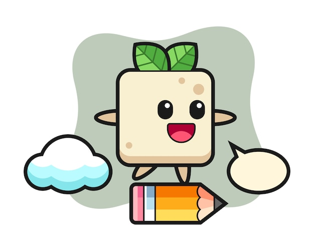 Tofu mascotte illustratie rijden op een gigantisch potlood, schattig stijlontwerp voor t-shirt