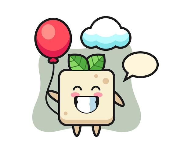 Tofu mascotte illustratie speelt ballon, schattig stijlontwerp voor t-shirt