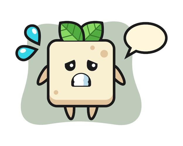 Tofu mascotte karakter met bang gebaar, schattig stijlontwerp voor t-shirt