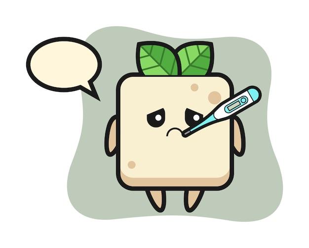 Tofu mascotte karakter met koorts, schattig ontwerp voor een t-shirt