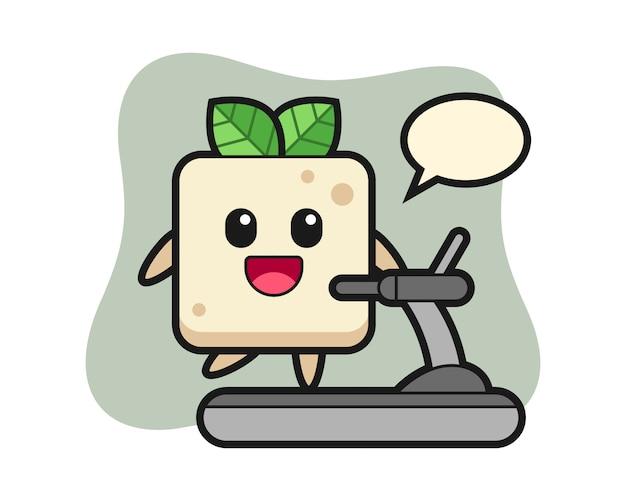 Tofu stripfiguur lopen op de loopband, schattig stijlontwerp voor t-shirt