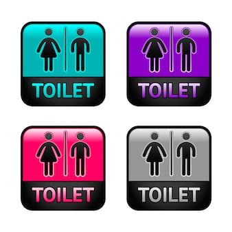 Toilet - kleurrijke set symbolen