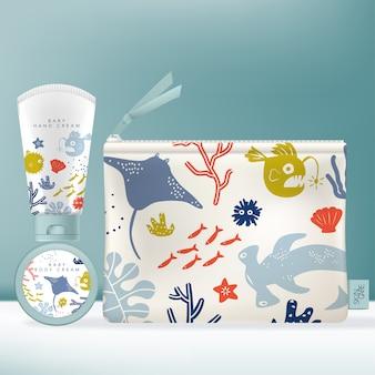 Toiletartikelen dispenser-fles voor schoonheid of huidverzorgingsproduct. kinderen of kinderen onderwaterwereld themapatroon.