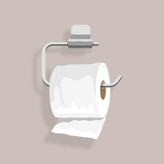 Toiletpapier hangend aan een houderelement