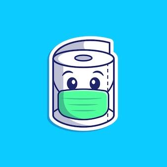 Toiletpapier medische masker illustratie. tissue paper mascot character. gezondheid geïsoleerd